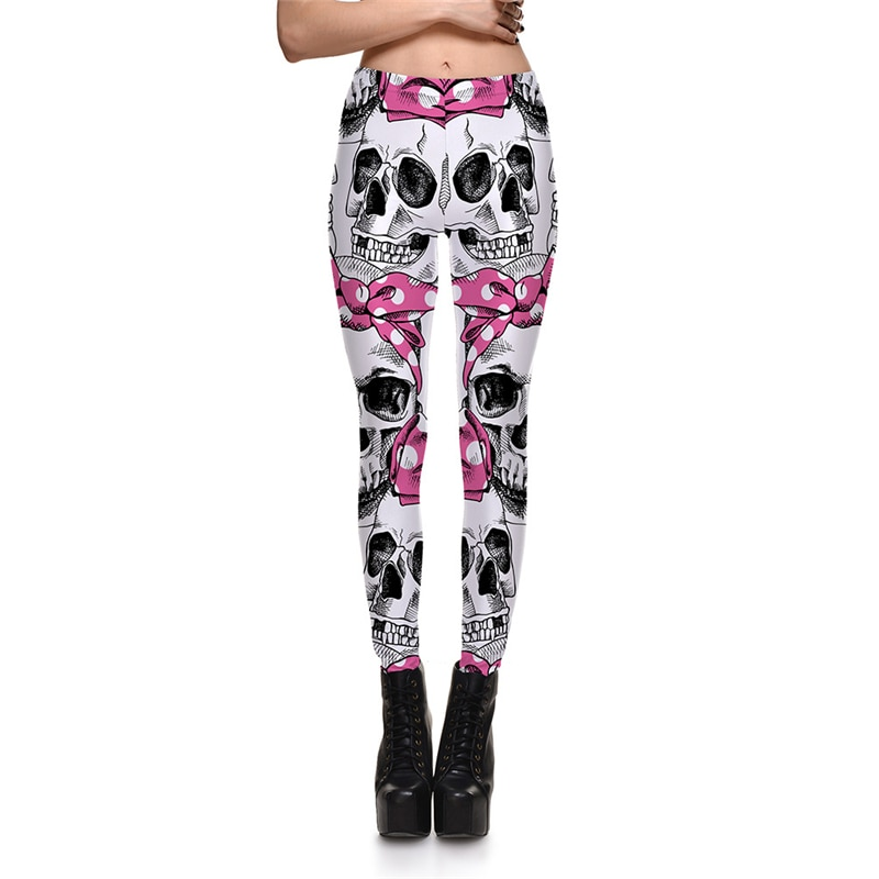 Leggings Fitness Sexy Women's Leggings Cute Skeleton Bows Stretch Digital Print Pencil Pants Trousers Halloween