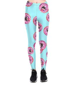 Leggings Sexy Women's Sweet Dessert Donuts Leggings Digital Print Pants Trousers Stretch Plus Size Pants High Quality