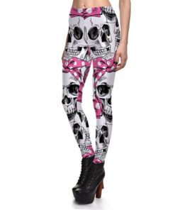 Leggings Fitness Sexy Women's Leggings Cute Skeleton Bows Stretch Digital Print Pencil Pants Trousers Halloween 1
