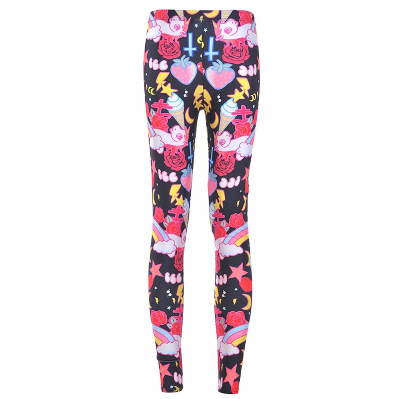 Drop Ship Fitness Legging Printed Women KAWAII-LEGGINGS Printed Leggins Digital Printing Fun Pant Fashion Girls Punk
