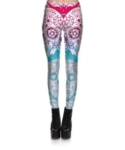 Leggings Fitness Women's Leggings Mandala Flower Diamond Skull Stretch Digital Print Pants Trousers Halloween