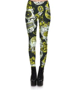 Hot Sell Skull Leggings Women's Skull&flower Black Leggings Digital Print Trousers 7 color skull Woman Stretch Pants Plus Size 5