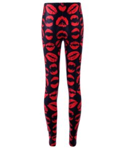 Leggings Fashion SLim New Leggings For Women Digital Printing Red Lips Skinny Pants Elastic Black Plus size 1