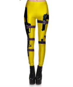 Leggings Fitness Sexy Women's Leggings Stretch Digital Print Yellow Black Gun Field Pencil Pants Trousers S-4XL