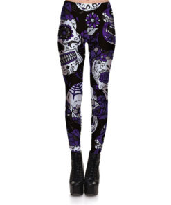 Hot Sell Skull Leggings Women's Skull&flower Black Leggings Digital Print Trousers 7 color skull Woman Stretch Pants Plus Size 3
