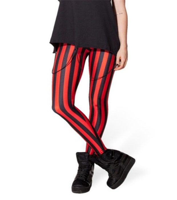 HOT Sexy Fashion Pirate Leggins Pants Digital Printing BEETLEJUICE RED LEGGINGS For Women