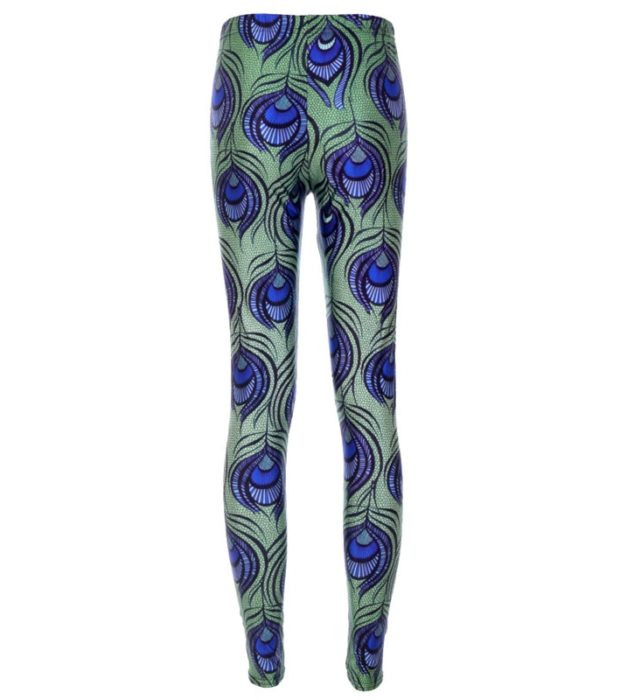 Leggings Fashion Green Leggings Feather Digital Print Pencil Trousers Leggings Plus Size Drop Shipping 1