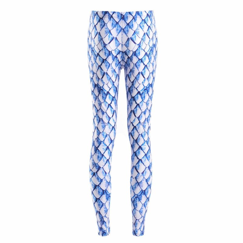 Leggings Spring Fashion Sexy Women Fitness Leggings New White blue scales Pant pencil Trousers Jeggings 1