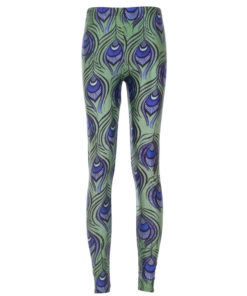 Leggings Fashion Green Leggings Feather Digital Print Pencil Trousers Leggings Plus Size Drop Shipping