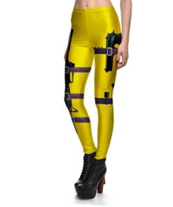Leggings Fitness Sexy Women's Leggings Stretch Digital Print Yellow Black Gun Field Pencil Pants Trousers S-4XL 1