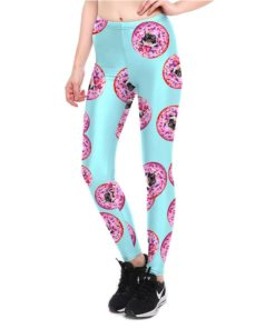 Leggings Sexy Women's Sweet Dessert Donuts Leggings Digital Print Pants Trousers Stretch Plus Size Pants High Quality 1