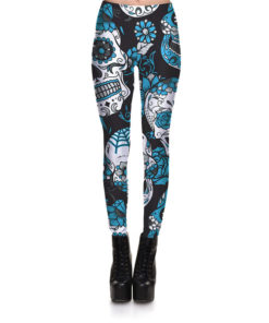 Hot Sell Skull Leggings Women's Skull&flower Black Leggings Digital Print Trousers 7 color skull Woman Stretch Pants Plus Size 2