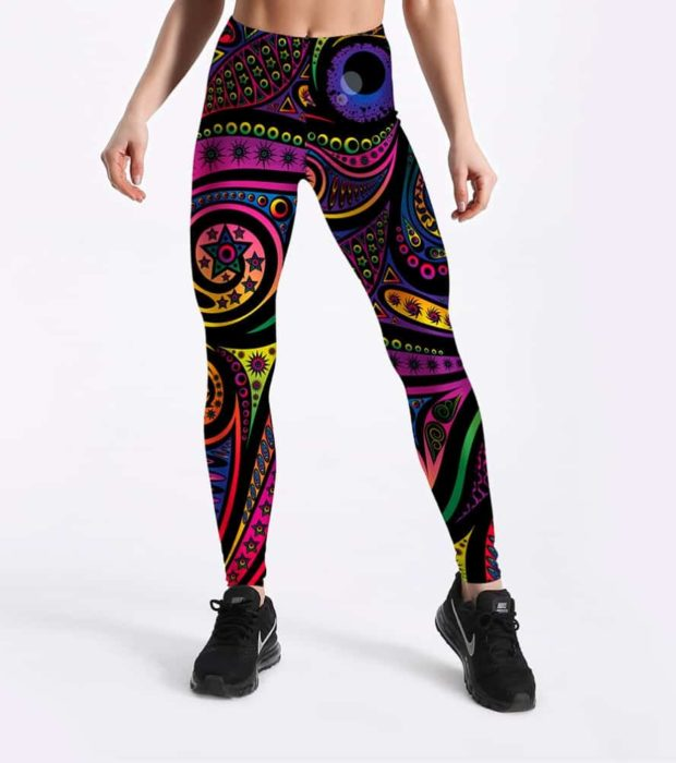 Women Summer Pants Color Totem Printed Black Sexy Leggings Plus Size Casual Street Wear High Waist Leggings 1